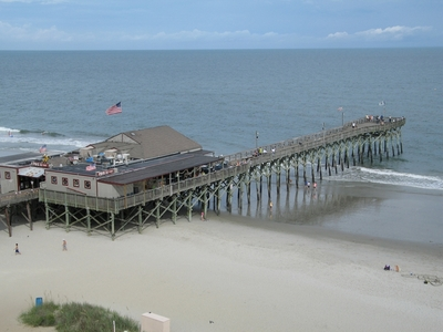 Holiday Pavilion Oceanfront Resort Vacation Rental Condo - View from balcony of Pier 14 in Myrtle Beach, SC