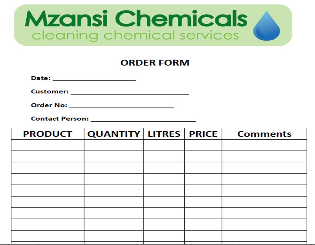 Mzansi Chemicals - Downloads on maintenance form, drug abuse risk assessment form, computer form, marketing form,