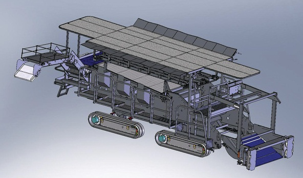 Greenleaf Lettuce harvester modeled in Solidworks