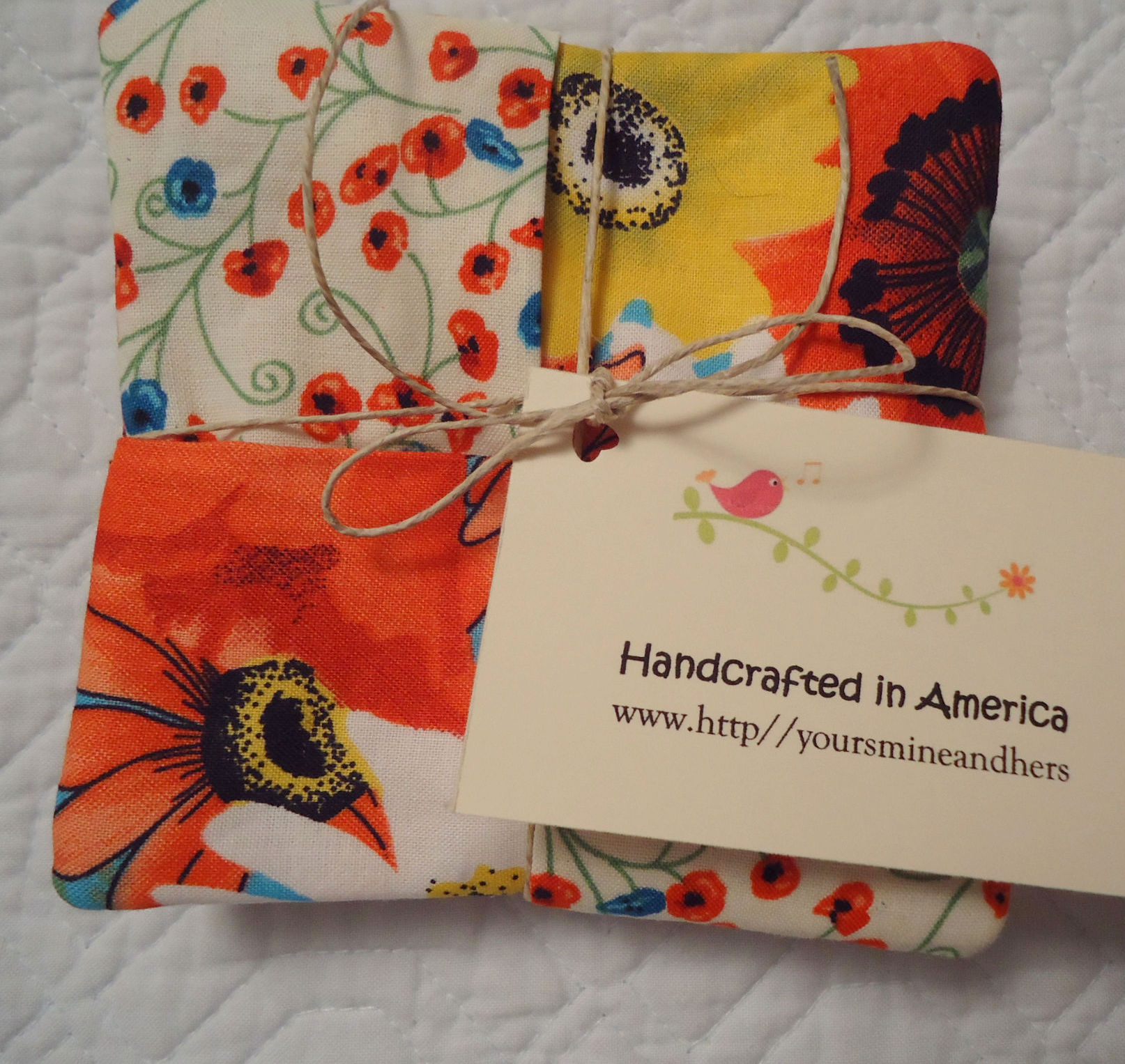Handcrafted in America, one-of-a-kind, absorbent, best coasters ever, mug rugs