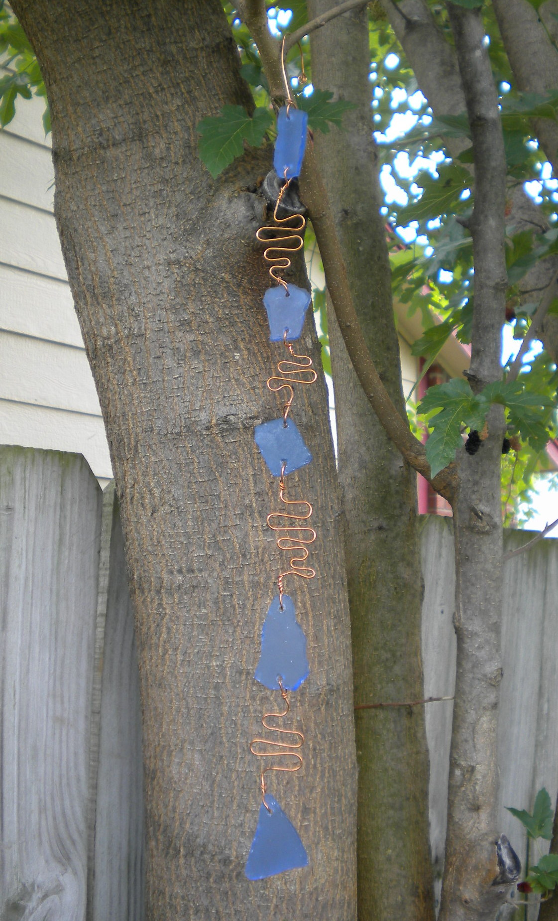 Sea Glass and Copper Yard Bauble