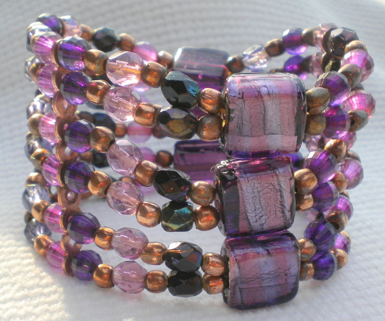 Purple Glass and Copper Bracelet