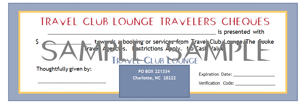 $25 Travel Club Lounge Traveler's Cheque