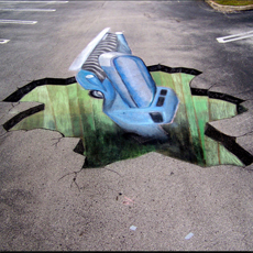 Side Walk Chalk Art - Truck Breaking Through