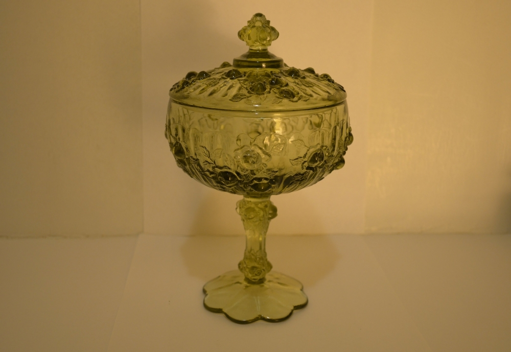Vintage Fenton Colonial Green Compote w/ Rose Pattern