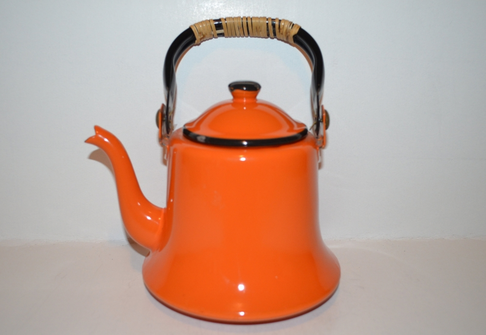 Vintage 1950's Japanese Teapot Orange & Black Enamel