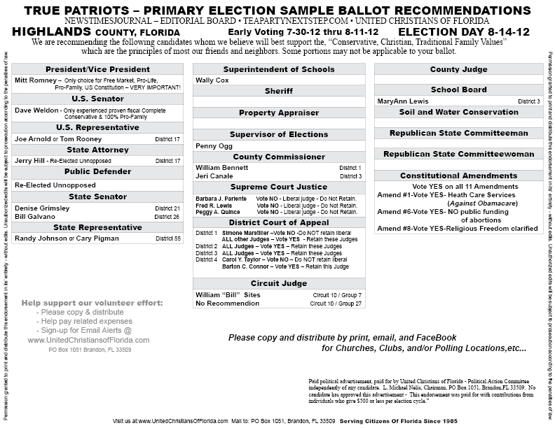 2012 Highlands County Voter Guide - Sample Ballot - Candidate ...