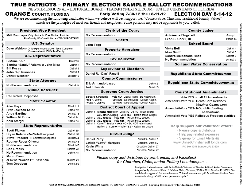 Christian Voters Guide 2014 Pinellas