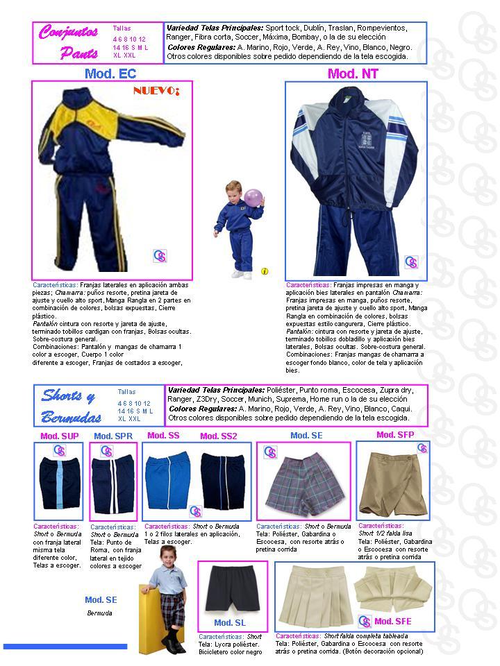 catalogo uniformes qsuave conjuntos pants short y bermudas