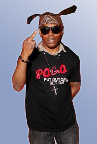 Coolio wearing a POGO Tongue Our Crew Shirt Tosh.0
