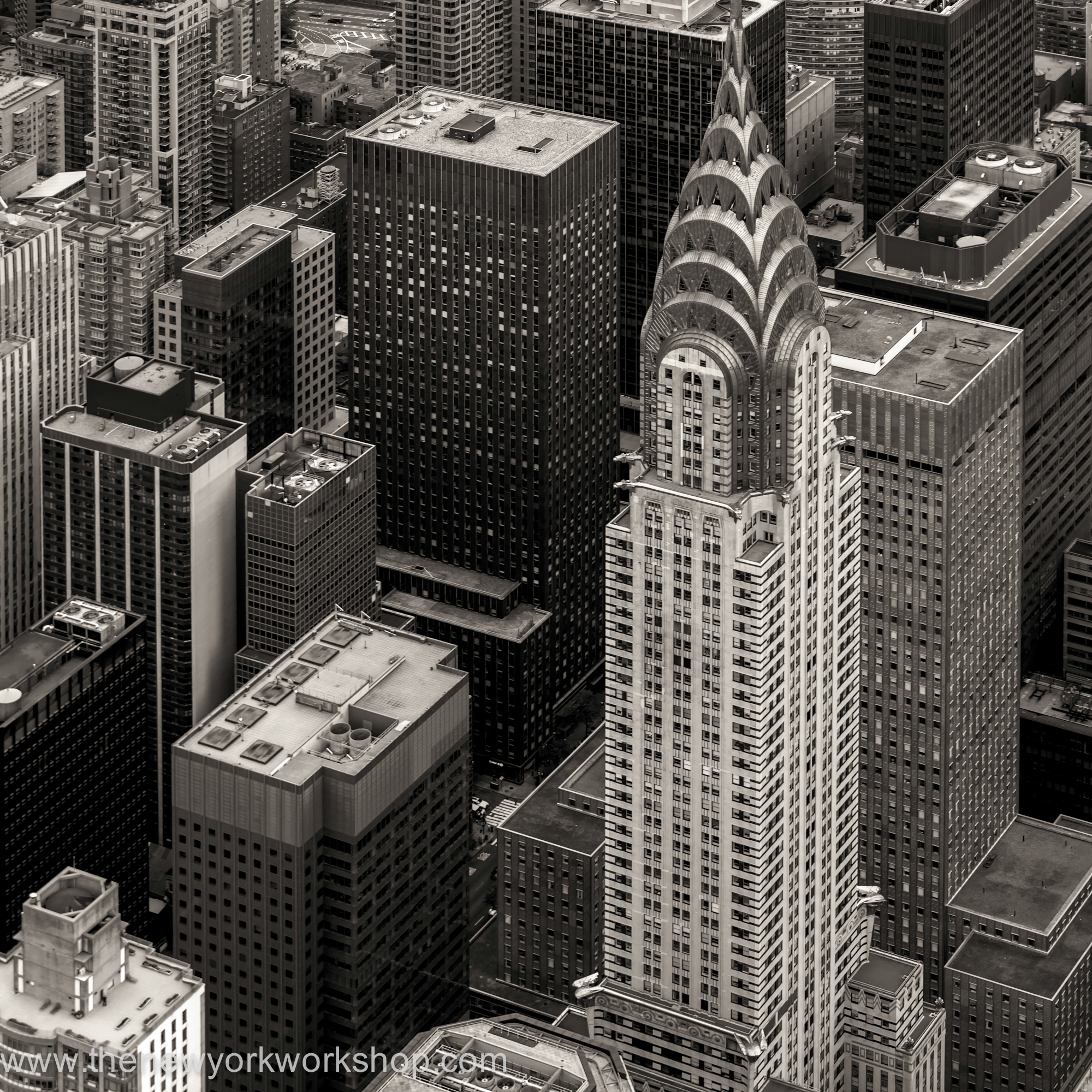 A view from helicopter with the Chrysler building