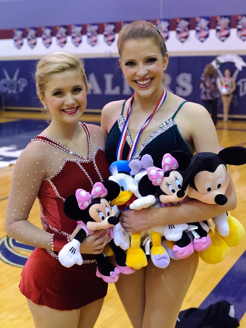 Senior Twirlers Lindsey McCormick and Caroline Carothers