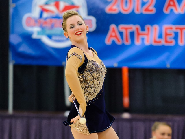 Megan Norton performs at the 2013 NBTA Texas State Miss Majorette and Twirling Championships held Boerne, Texas.