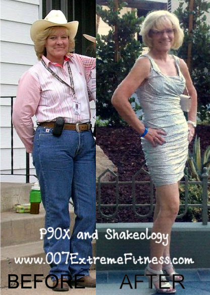 Karen before and after doing P90X