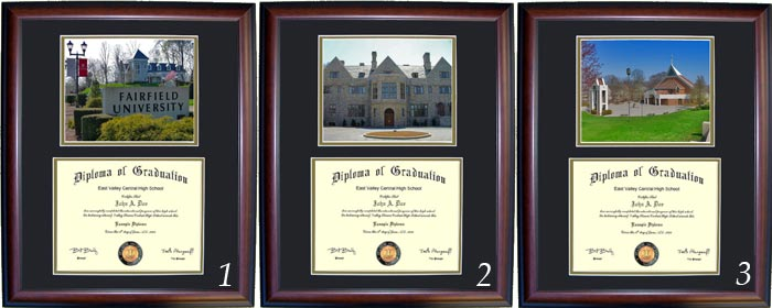 Cherry, Walnut Slippery Rock Diploma Frame with Photo and Wood Frame
