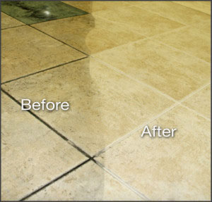 Clean grout on floor tiles