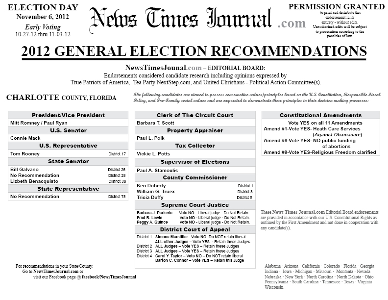 2012 Charlotte County, Florida General Election ...