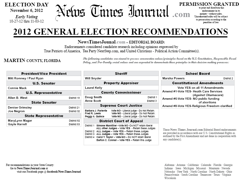 ... county florida sample ballot election recommendations voting guide