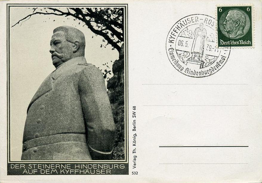1939 3. Reich Sonderkarte Hindenburgdenkmal auf dem Kyffhäuser mit SST