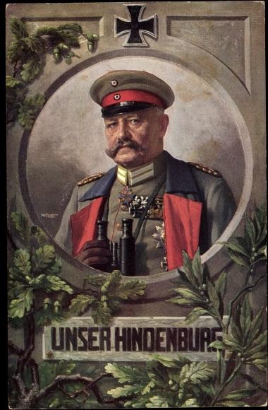 Künstler Ak Generalfeldmarschall Paul von Hindenburg