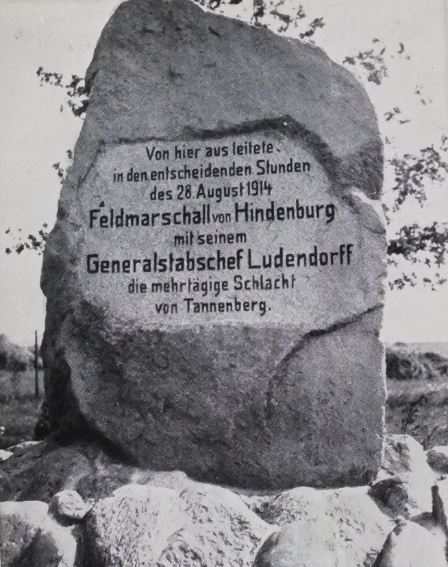 Memorial Stone to honour Hindenburg and Ludendorf on the the battle of Tannenberg