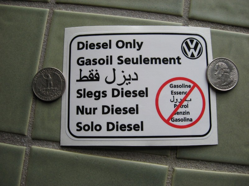 Diesel Only decal VW