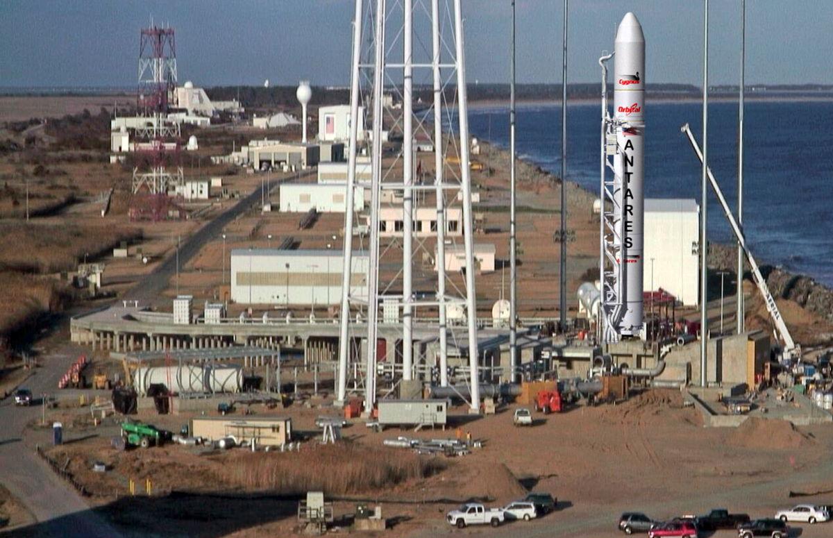 NASA Antares rocket on pad