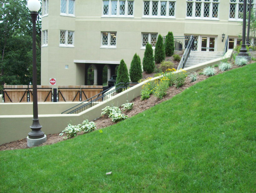 Landscape installation at Virginia Military Institute in 2010 which included planting, sod, bed creation, and more